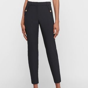 Express Crop High Rise Twill Flap Pocket Flat Pant
